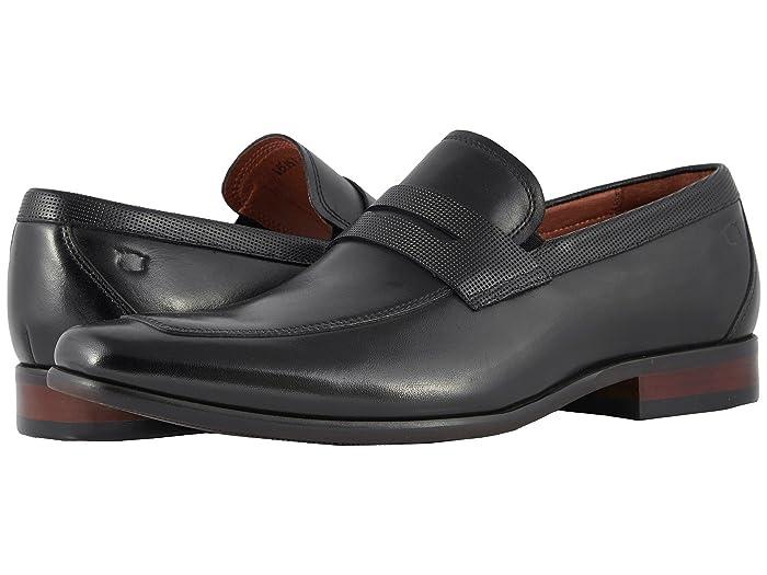 Florsheim  Postino Moc Toe Penny Loafer (Black Smooth/Perf) Mens Slip-on Dress Shoes