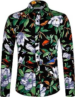 Men's Flower Casual Button Down Long Sleeve Shirt