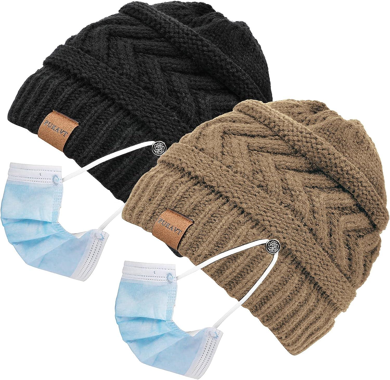 Pukavt Beanie Hats for Women,Ponytail Messy Bun BeanieTail,Sooft Winter Warm Knit Stretch Beanie Hat