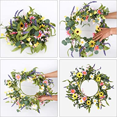 """Artificial Spring Wreath,20"""" Pink Yellow White Flower Wreath Daisy Sunflower Wreath for Front Door Wall Window Party Festival"""