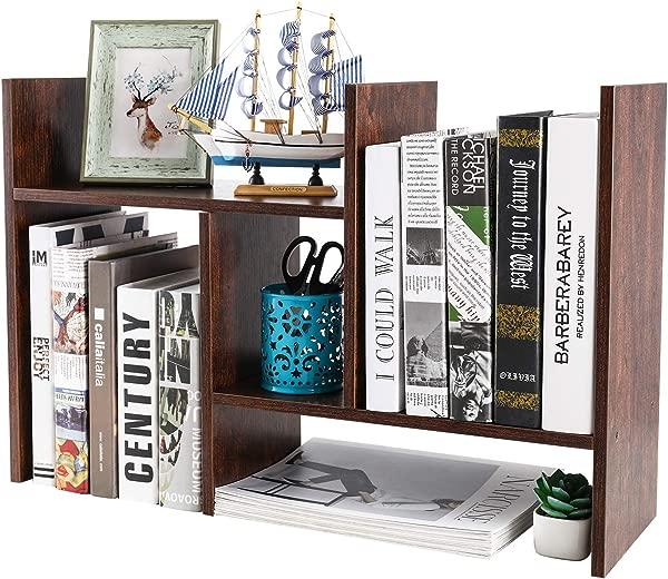PAG Wood Desktop Bookshelf Assembled Countertop Bookcase Adjustable Literature Display Rack Retro Brown