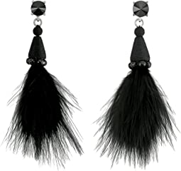 Oscar de la Renta - Marabou Feather P Earrings