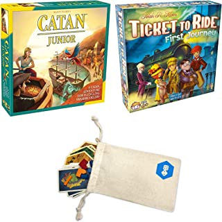 Catan Junior with Ticket to Ride: First Journey Family Game Bundle   Includes Convenient Drawstring Storage Pouch with Game Players Logo Printed