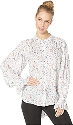 Floral Blouse with Shirred Sleeve Detail