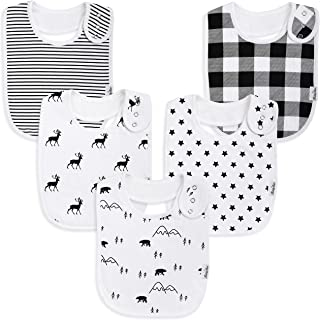 Premium, Organic Cotton Toddler Bibs, Unisex 5-Pack Extra Large Baby Bibs for Boys and Girls by KiddyStar, Baby Shower Gift for Feeding, Drooling, Teething, Adjustable 5 Positions (Bears & Reindeer)