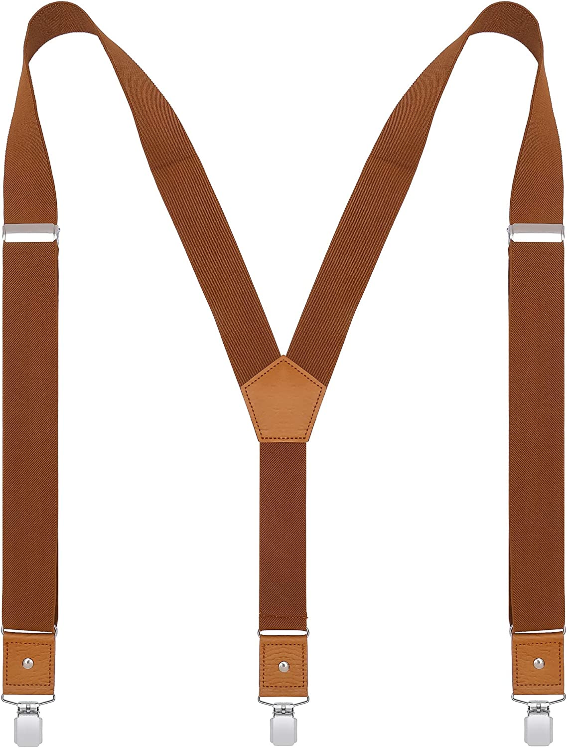 BODY STRENTH Mens Suspenders Adjustable Y Back Elastic with Strong Clips