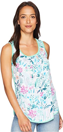 Iris Jersey Woven Mix Sleeveless Top