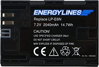 energyl Ines batería para Canon LP-E6N ion de litio 7.2V 2040mAh sustituye a: EOS 5d Mark II EOS 5d Mark III EOS 5d Mark25DS EOS 5DS R EOS 60d eos 60Da EOS 6d EOS 70d EOS 7d EOS 7d Mark II