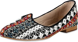 Saint G Womens Multi Mirror Fabric Leather Ballerinas