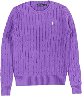 Polo Ralph Lauren Women's Long Sleeve Cable Crewneck Sweater (M, Purple)