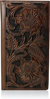 Ariat Men's Tonal Brown Floral Inlay Rodeo Wallet