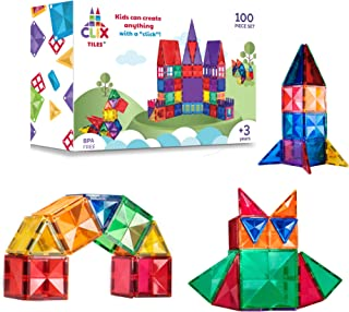 Clix-tiles magnetic building blocks toy | set of 100 pieces colorful diamond tiles for kids | open-ended toy educational S...