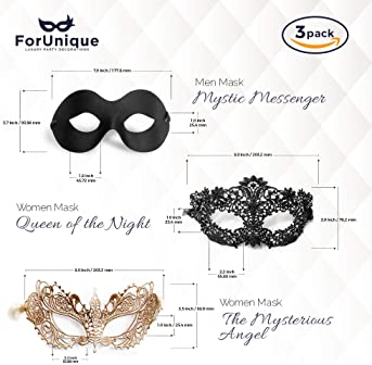 Masquerade Mask for Couples Women and Men - 3 Pack Venetian Gold and Black Lace