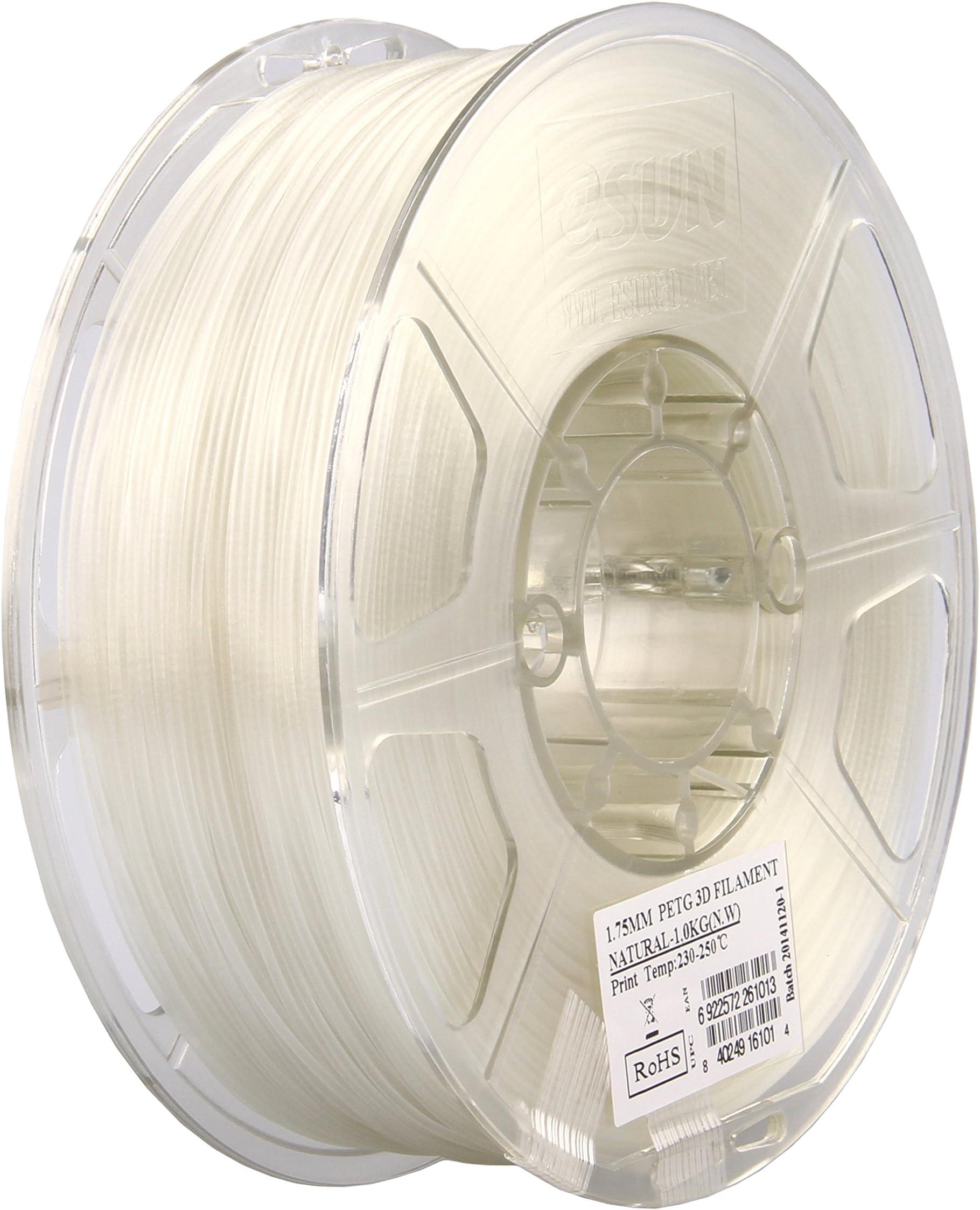eSUN 3D 1.75mm PETG Natural Filament 1kg (2.2lb), PETG 3D Printer Filament, Semi-Transparent 1.75mm Natural