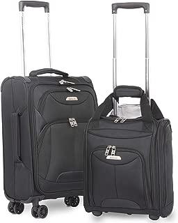 "Aerolite 21"" Inch Carry On Lightweight 4 Wheel Spinner Suitcase & 16"" Under Seat Bag Set (Black)"
