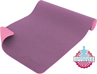 Prosource Fit Natura TPE Yoga Mat 1/4 (6mm) Thick,  72 Long,  Reversible with High-Density Cushion & Non-Slip Texture,  Eco-Conscious & Hygienic