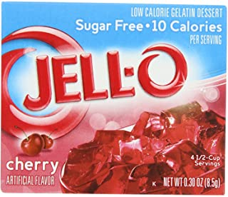 JELL-O Cherry Sugar Free Gelatin Dessert Mix (0.30 oz Boxes, Pack of 24)