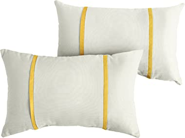 Mozaic AMPS114661 Indoor Outdoor Sunbrella Lumbar Pillows, Set of 2, 12 x 18, Canvas Natural Ivory & Sunflower Yellow
