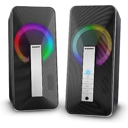 ELEGIANT Altavoces PC Sobremesa,10W Altavoz USB & Bluetooth para Ordenador con Cable e Modo Inalámbrica, Sonido Estéreo de Doble Canal Multimedia para Ordenador Portátil Tableta Móvil MP3 Fiesta