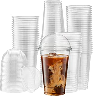 [50 Sets - 20 Oz] Crystal Clear PET Plastic Cups With Dome lids for Iced Coffee, Cold Drinks, Milkshake, Slush Cups, Smoot...