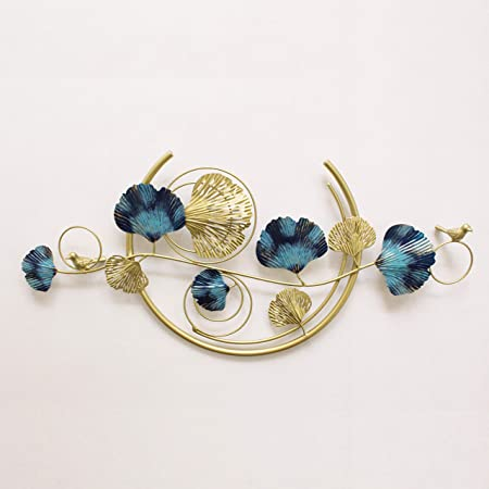 Artact Wall Art Imperial Gold Branch of Hand Painted Royal Blue and Gold Leaves with Casted Birds and Half Moon Ring in The Center high Gloss Finish on Metal