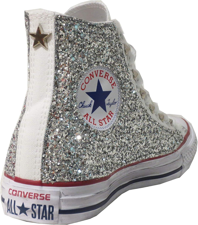 all Star Alte Glitter Argento Bianco Stella Optical White Vintage (Prodotto Artigianale)