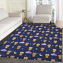 Nursery Print Area rug Cute Owls in an Starry Night and Moon Happy Sleepy and Alert Animals Indoor/Outdoor Area Rug 5'x6' Night Blue Brown Yellow