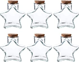Whole Housewares 10 OZ Star Shaped Glass Favor Jars with Cork Lids,Glass Wish Bottles with Cork Set of 6