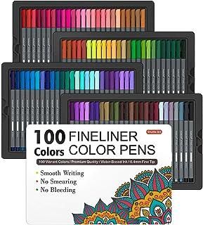 Shuttle Art Fineliner Pens, 100 Colors 0.4mm Fineliner Color Pen Set Fine Line Drawing Pen Fine Point Markers Perfect for ...