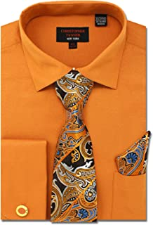 Christopher Tanner Men`s Solid Micro Pattern Regular Fit French Cuffs Dress Shirts with Tie Hanky Cufflinks Combo