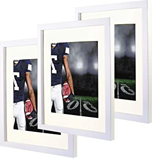 11x14 White Picture Frames with 8x10 Mat for Wall and Table Stand Photo Artwork Display Set of 3 Pack