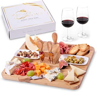 Exquisite Cheese Board and Knife Set by Maison del Mar - Charcuterie Board Set & Cheese Serving Platter for Meat, Wine, Crackers - Gift Idea for Women, Birthday, Wedding, Anniversary, Housewarming