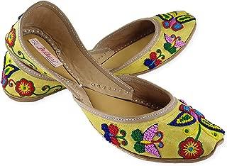 Fulkari Women's Soft Leather Bite and Pinch Free Phulkari Butterfly Multicolor Flat Punjabi Jutti Mojari Ethnic Shoe