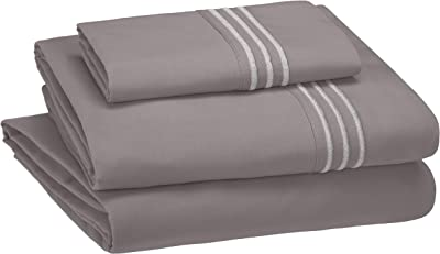 AmazonBasics Embroidered Hotel Stitch Sheet Set - Premium, Soft, Easy-Wash Microfiber - Single, Dark Grey - with pillow cover