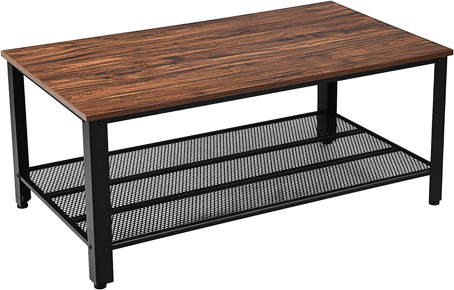 Giantex Coffee Table 42 Inch W//Storage Shelf and Adjustable Feet Nut-Brown Retro Style and Scratch-Proof Multipurpose for Living Room Accent Tea Snack Table