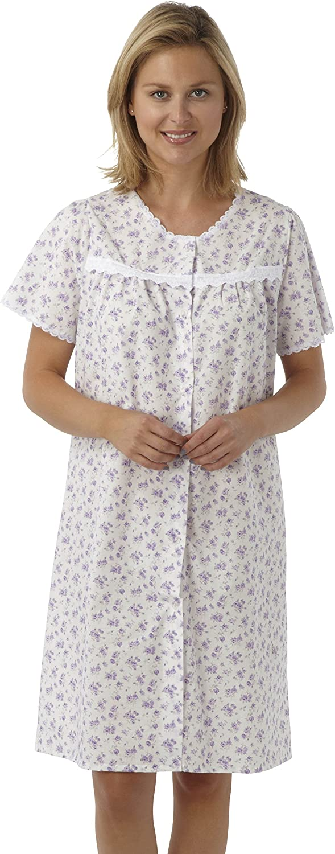 Size 10-30 Cotton Night Shirt Dress Nightwear MN12 Sockstack Ladies Floral Button Through Nightdress
