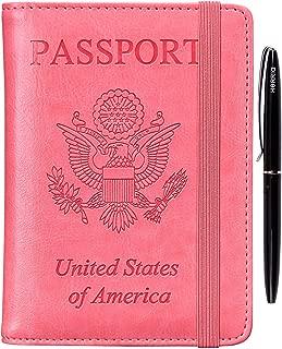 Passport Holder Cover Case - Leather RFID Blocking For Women Men With Bonus Pen