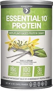 Designer Protein Essential 10 100% Plant-Based Protein Shake, Vanilla Dream, 12 Ounce