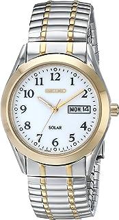 Seiko Men's SNE062 Two-Tone Solar White Dial Watch