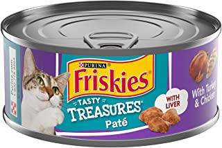 Purina Friskies Pate Wet Cat Food, Tasty Treasures Turkey & Chicken Dinner with Liver 5.5 Ounce Cans (Pack of 24)