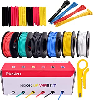 22 AWG Silicone Hook Up Wire - 22 Gauge Stranded Tinned Copper Wire with Silicone Insulation, 6 Colors (Black, Red, Yellow, Green, Blue, White) 23ft / 7m Each, Hook Up Wire Kit from Plusivo