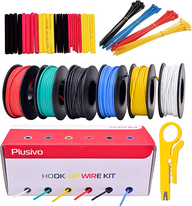 22GA Hook Up Wire Kit 22AWG Silicone Wire 600V Tinned Stranded Electrical Wire Of 6 Different Colors X 23 Ft Each Black Red Yellow Green Blue White Wire Assortment Kit From Plusivo