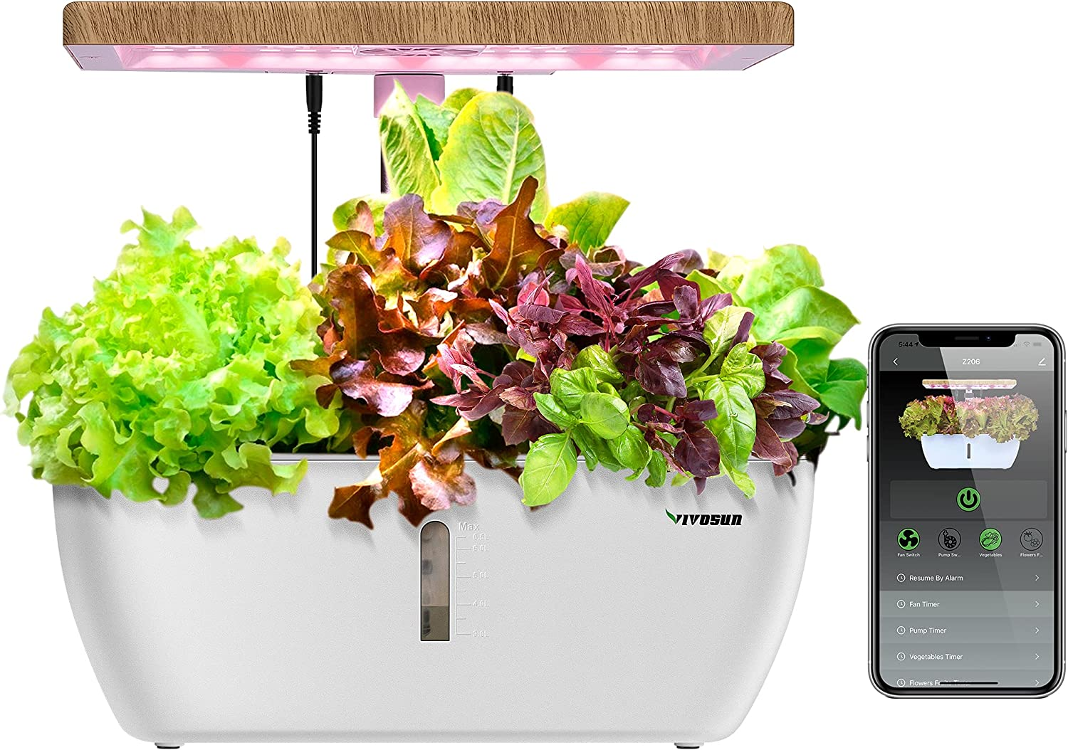 VIVOSUN Hydroponics Growing System, Herb Garden with Spectrum LED Light, Circulating Water Pump and Wireless Control for Indoor Germination and Planting