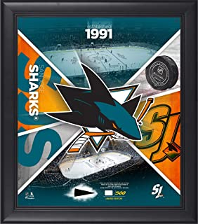 """San Jose Sharks Framed 15"""" x 17"""" Team Impact Collage with a Piece of Game-Used Puck - Limited Edition of 500 - Fanatics Authentic Certified"""