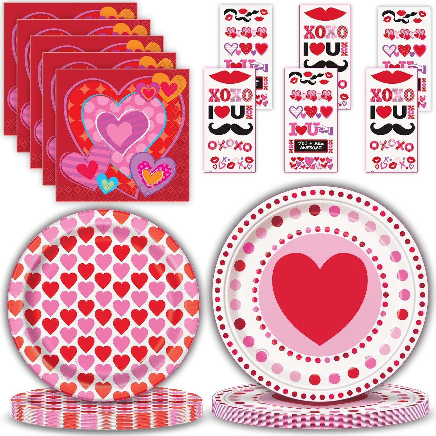 Valentine's 信用 Day Party Supplies for 24 日本未発売 P Paper Large Disposable -