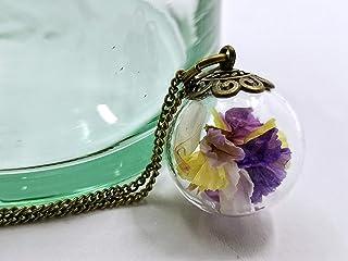 Collana donna in bicchiere - Fiori di Lavanda di mare - Piccolo globo 20mm - Idea regalo anniversario - Regalo di San Vale...