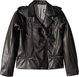 Matte Vegan Leather Moto Jacket with Zippers (Little Kids/Big Kids)