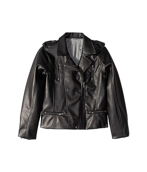 Little Kids//Big Kids Chaser Kids Unisex Matte Vegan Leather Moto Jacket with Zippers