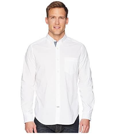Nautica Long Sleeve Anchor Solid End on End (Bright White) Men