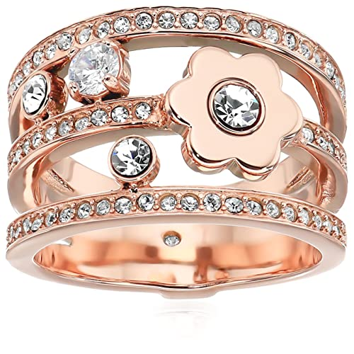 6275fb69eb3d5 Michael Kors Women s in Full Bloom Floral and Crystal Accent Stacked Ring
